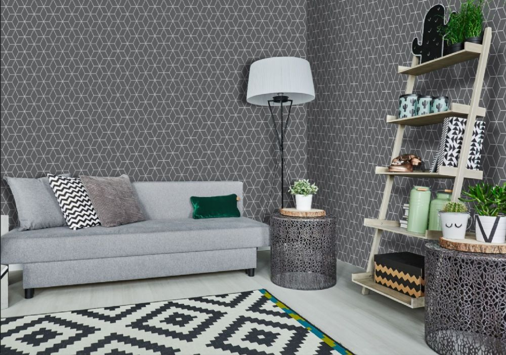 Graham and Brown Prism Charcoal Grey 101315 Wallpaper PB